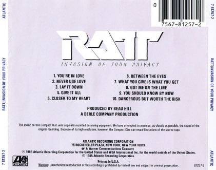 Ratt - Invasion of Your Privacy (back)