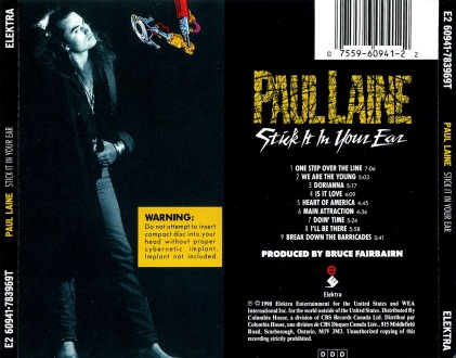 Paul Laine - Stick It In Your Ear [back]